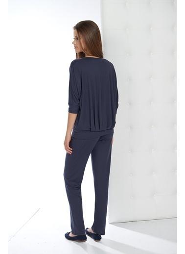Gizzey Yarasa Kol Bluz Pijama Takım Lacivert